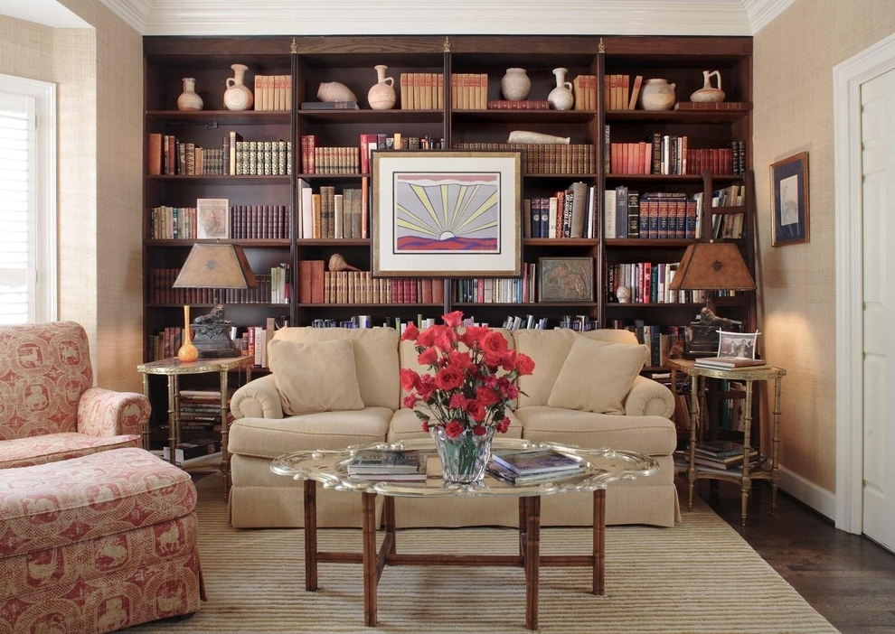 Family Room Bookcases With Regard To Favorite Craftsman Style Bookcase Family Room Traditional With Area Rug (View 9 of 15)