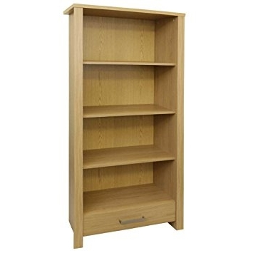 Famous Bookcases Flat Pack In Bailey Display Cabinet / Bookcase With Drawer – Oak Wood Effect (View 6 of 15)