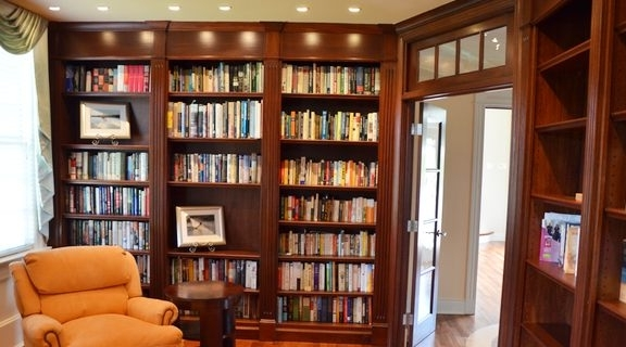 Famous Built In Library Shelves Pertaining To Library Built In Bookshelves Custom Bookcases Orlando Wood (View 7 of 15)