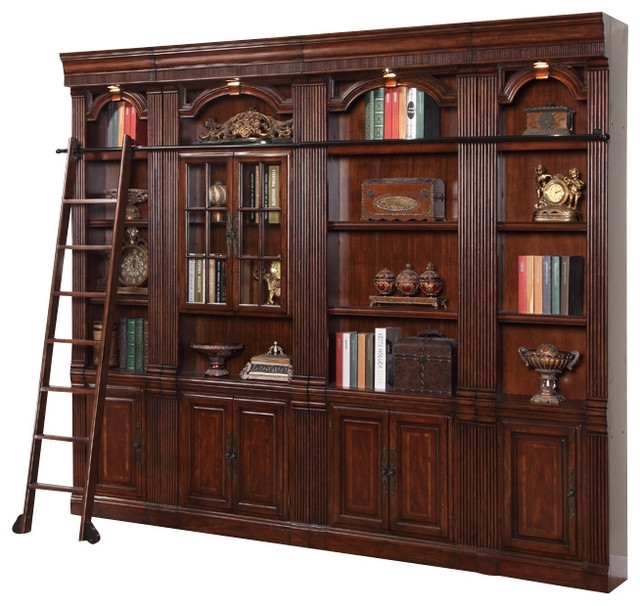 Famous Library Bookcases Wall Unit Regarding Parker House – 4 Piece Wellington Library Bookcase Insert Wall (View 6 of 15)
