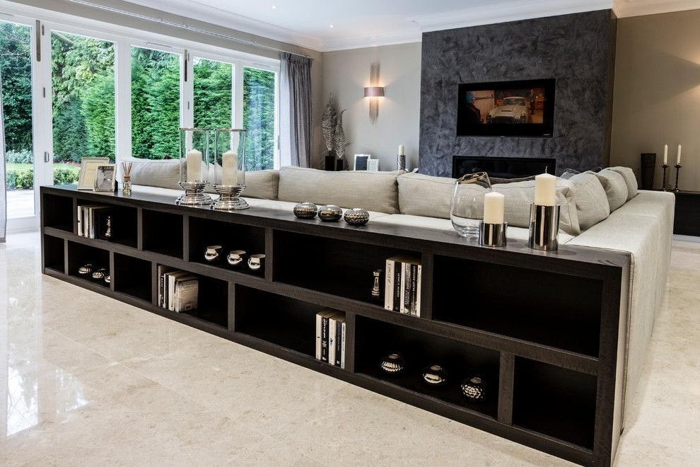 Famous Long Low Bookcases With Regard To Long Low Bookcase Family Room Contemporary With Art Glass Lighting (View 5 of 15)