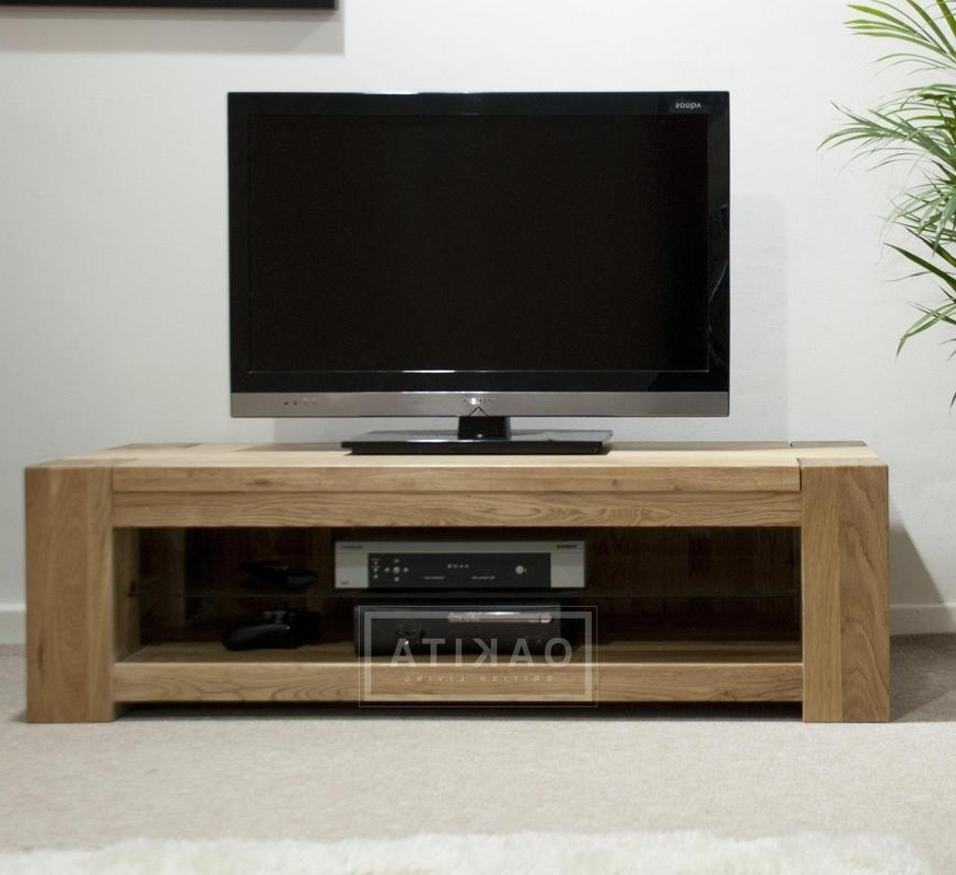 Famous Low Media Unit With St Ives Oak Wide & Low Tv Cabinet – Oak Tv Stands & Entertainment (View 5 of 15)
