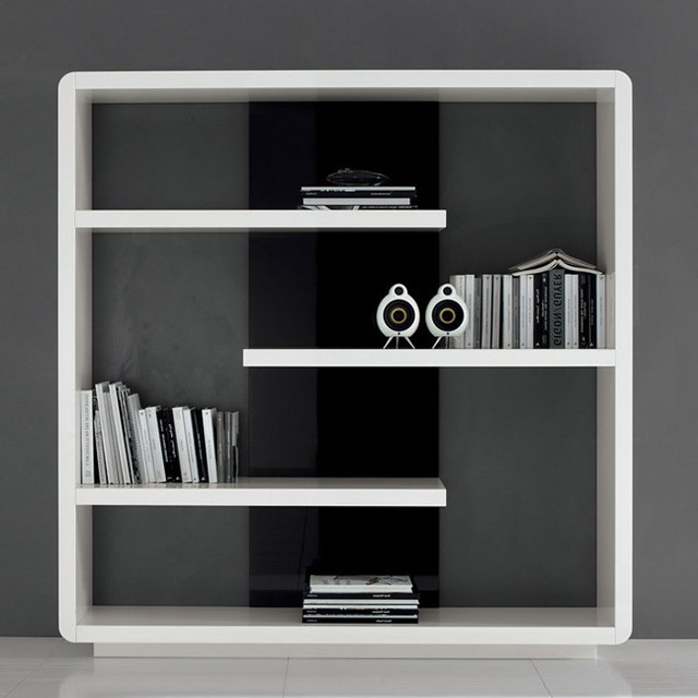 Famous Modern Bookcases Throughout Black And White Modern Walnut Bookcase (View 6 of 15)