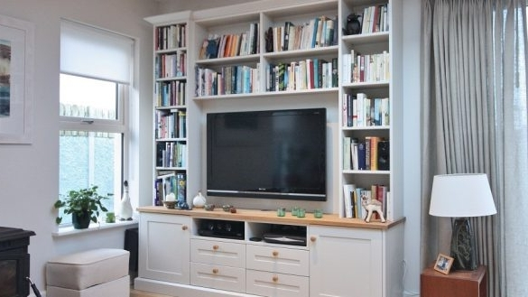 Famous Well Suited Bookcase With Tv Unit Enigma Design Tv And Alcove Units Bespoke  Shelving 1A Wicklow 2 585X329 Within Custom Made Shelving Units (View 7 of 15)