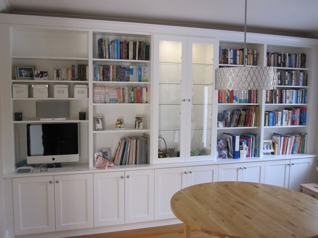 Famous White Bookcases With Cupboard With Regard To White Bookcases With Built In Desk – Traditional – Living Room (View 6 of 15)