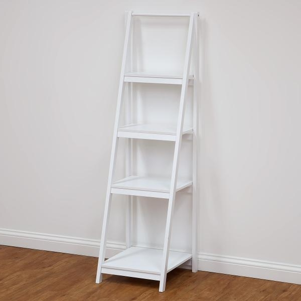 Famous White Ladder Shelf Regarding 4 Tier Bathroom Ladder Shelf – White Photo (View 10 of 15)