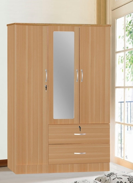 Fashionable 3 Door Wardrobe With 2 Drawers & Mirror – Contemporary – Armoires For Wardrobe With Shelves And Drawers (View 4 of 15)