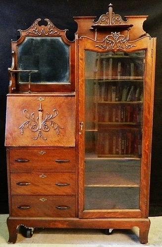Fashionable Antique Drop Front Secretary Desk With Bookcases Intended For Antique Secretary Desk With Bookcase Mohogany Victorian (View 6 of 15)