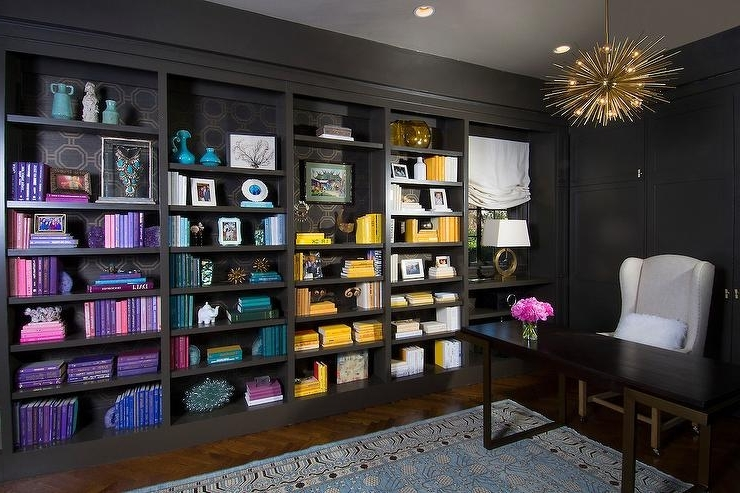 Fashionable Black Paneled Office With Books Arrangedcolor – Contemporary With Regard To Colored Bookcases (View 10 of 15)