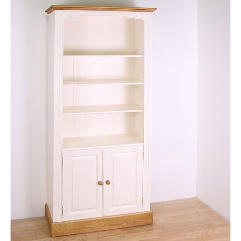 Fashionable Bookcases With Cabinet Base With Regard To Solid Pine Painted 79X48 Cupboard Bookcase – Bookcases – Office (View 9 of 15)