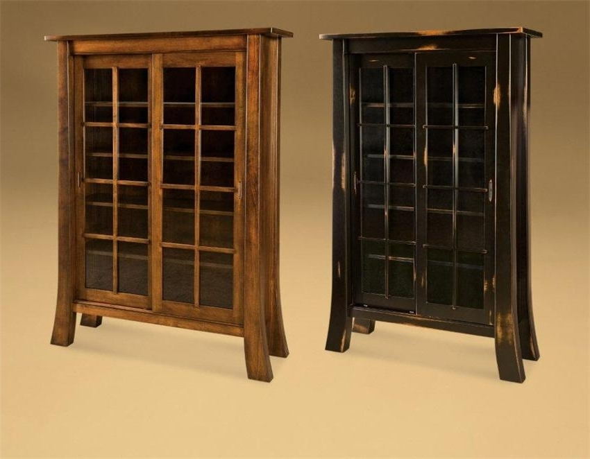 Fashionable Bookcases With Sliding Glass Doors Throughout Amish Office Furniture Witmer Bookcase With Sliding Doors (View 7 of 15)