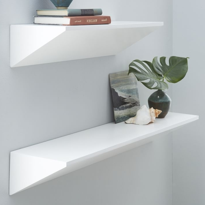Fashionable Floating Wedge Shelf White West Elm For Wall Shelves Plan 10 Within White Wall Shelves (View 6 of 15)