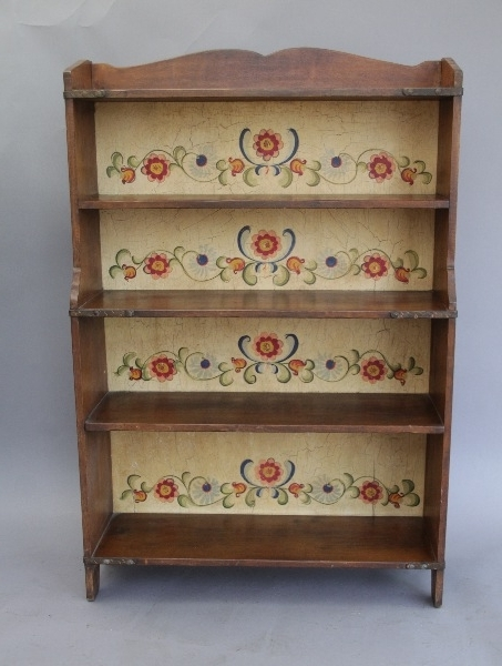 Fashionable Hand Painted Bookcases Within Wonderful Monterey Bookcase With Hand Painted Vibrant Floral (View 5 of 15)