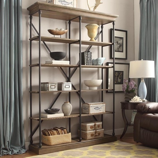 Fashionable Inspire Q Barnstone Cornice Brown Oak Driftwood Double Shelving Regarding Pier One Bookcases (View 3 of 15)