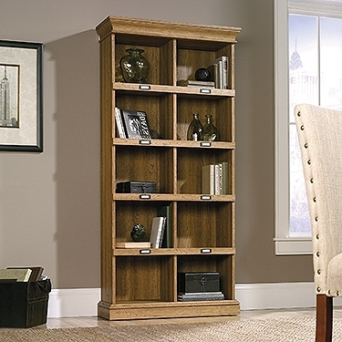 Fashionable Sauder Barrister Lane Scribed Oak Tall Bookcase 414725 Within Barrister Lane Bookcases (View 7 of 15)