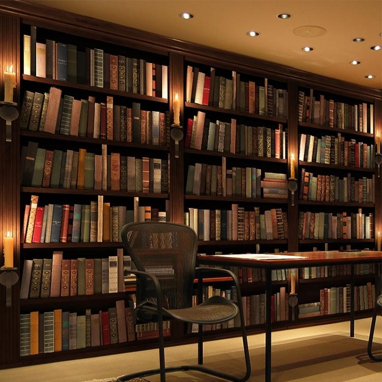 Fashionable Study Bookshelves Inside Custom Photo Wallpaper 3d Stereo Bookcase Bookshelf Wallpaper (View 12 of 15)