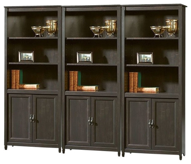 Fashionable Wall Library Bookcases Regarding Sauder Edge Water Library Wall Bookcase In Estate Black (View 4 of 15)