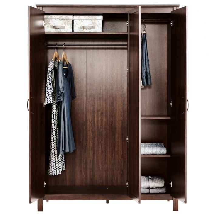 Fashionable Wardrobe With Shelves And Drawers Pertaining To Modest Design Dark Brown Wood Wardrobe Wooden Closet With Shelves (View 5 of 15)