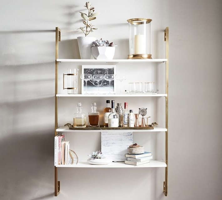 Fashionable White Wall Shelves Inside Brilliant Olivia Wall Mounted Shelves Pottery Barn With White (View 7 of 15)