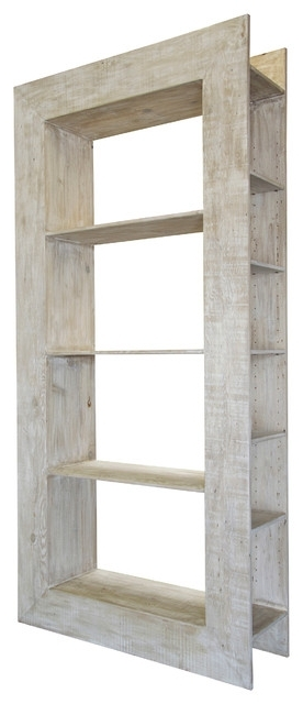 Fashionable Whitewash Bookcases For Portsmouth Coastal Beach White Wash Reclaimed Wood Bookcase (View 6 of 15)