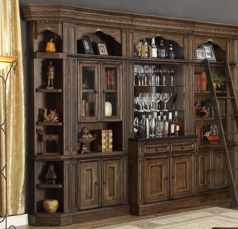 Favorite Bookcases Library Wall Unit With 6 Piece Bar Unit Bookcase Library Wall In Antique Vintage Smoked (View 9 of 15)