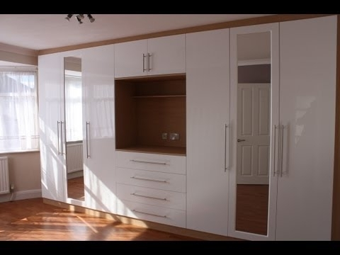 Favorite Fitted Wardrobes Oak Gloss White – Youtube In Built In Wardrobes With Tv Space (View 8 of 15)
