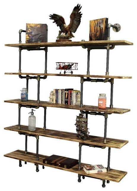 "Favorite Industrial Bookcases For Industrial 71"" Wall Mounted Large Storage Bookcase, Metal (View 3 of 15)"