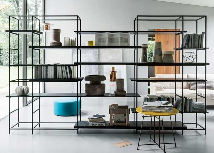 Favorite Room Divider Bookcases Throughout 34 Freestanding Shelving Systems That Double As Room Dividers – Vurni (View 8 of 15)