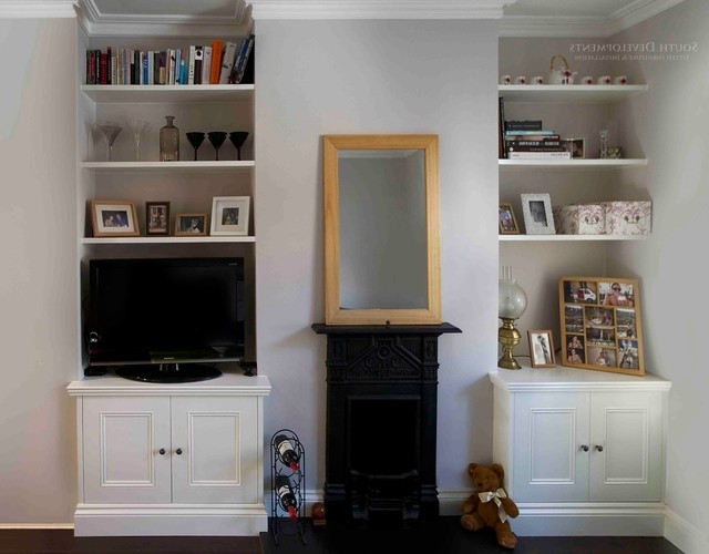 Fitted Alcove Cupboards & Floating Shelves – Traditional – Living For Current Fitted Shelves And Cupboards (View 6 of 15)
