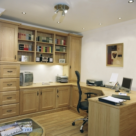 Fitted Office Furniture With Regard To Well Known Fitted Home Office – Impala Oak (Gallery 13 of 15)