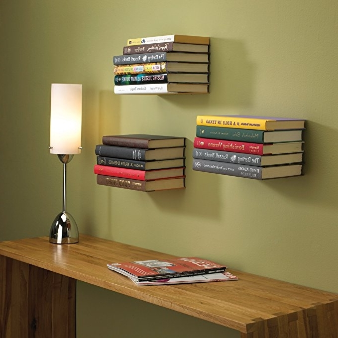 Floating Bookcases Intended For Widely Used Amazon: Umbra Conceal Floating Bookshelf, Large, Silver: Home (View 3 of 15)