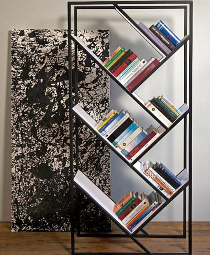 Free Standing Book Shelf Intended For 2018 Furniture: Modern Freestanding Bookshelf With Slanted Shelves –  (View 3 of 15)