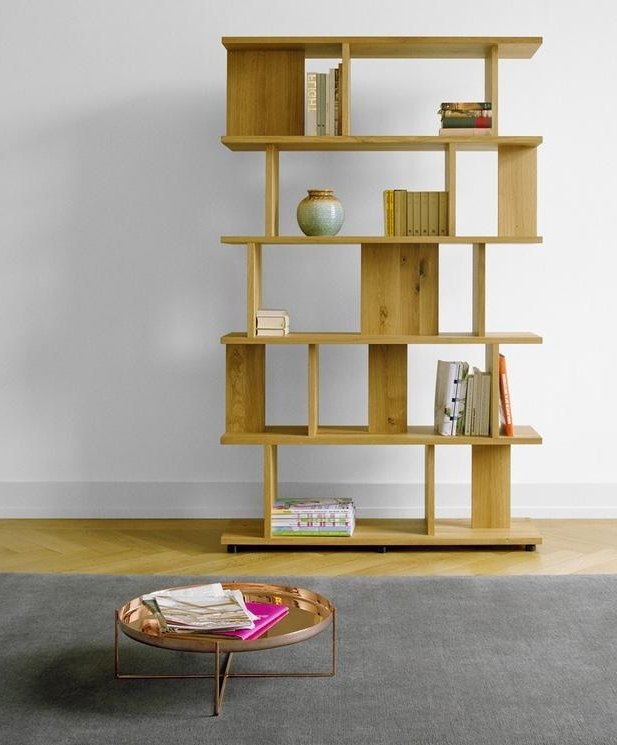 Free Standing Book Shelf Within Latest Oak Room Divider Shelves Valeria Furniture Contemporary Longitude (Gallery 8 of 15)
