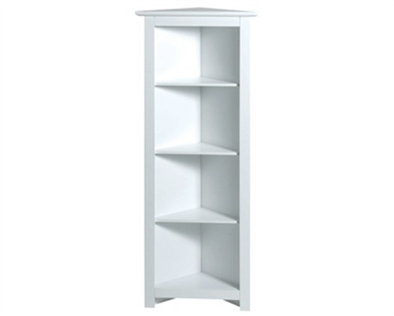 Free Standing White Shelves Pertaining To Preferred Furniture : White Finish Freestanding Wood Corner Shelf Unit (View 6 of 15)