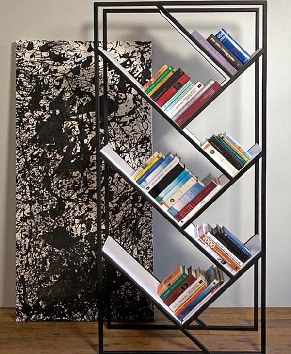 Freestanding Bookcases Regarding Current Bookcases: Modern Freestanding Bookshelf With Slanted Shelves (View 8 of 15)