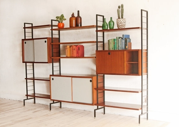 Freestanding Bookcases Wall With Most Popular Mid Century Teak Wall Unit Free Standing Italian Modern (View 9 of 15)