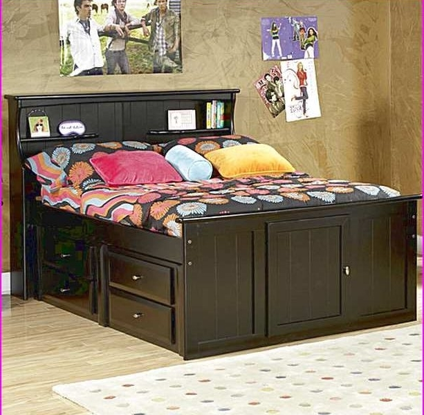 Featured Photo of Full Size Storage Bed With Bookcases Headboard
