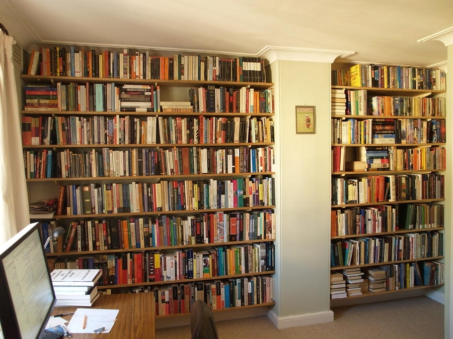 Full Wall Bookcases Within Preferred Wall Book Shelves With Bright Wooden Book Partitions And Full Wall (View 5 of 15)