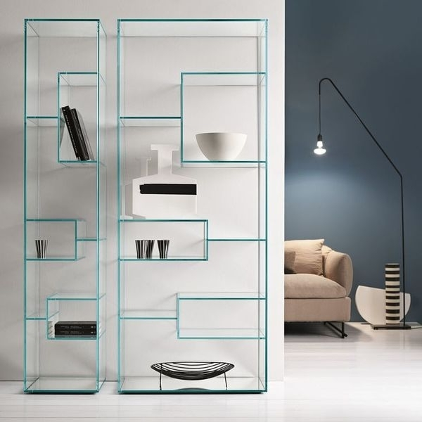Glass Bookcases For Fashionable Crate And Barrel Shelves Glass – Nobailout (View 3 of 15)