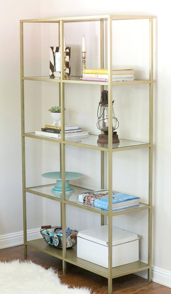 Glass Bookshelf Ikea – Thespokesman With Regard To Most Current Gold Metal Bookcases (View 2 of 15)