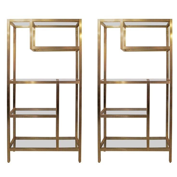 Glass Shelves, Open Shelving In Brass Bookcases (Gallery 13 of 15)