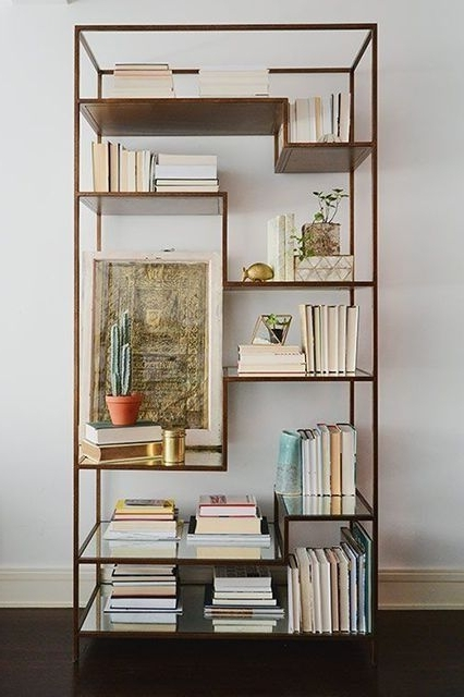 Gold Metal Bookcases Regarding Well Liked Modern Meets Boho In This Gorgeous Nyc Apartment Revamp (View 3 of 15)