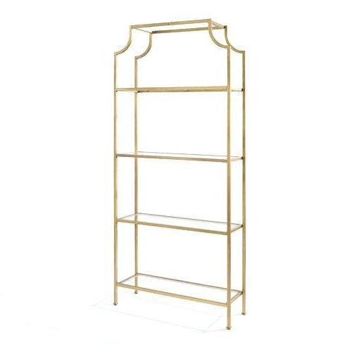 Gold Metal Bookcases Throughout 2018 Glass Bookcases And Shelves Gold Glass Furniture Free Standing (View 7 of 15)