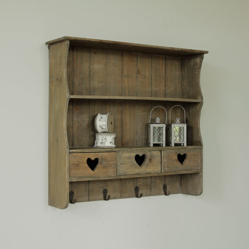 Grey Wall Shelf With Drawers – Melody Maison® With Well Liked Wooden Wall Shelves (Gallery 12 of 15)