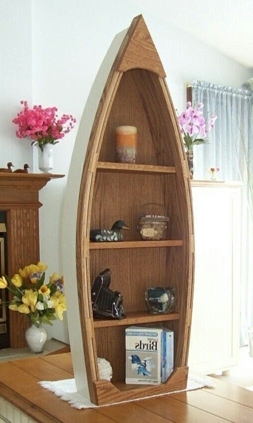 Handcrafted 4 Foot Wood Row Boat Bookcase Shelf Shelves Canoe Throughout 2017 Boat Bookcases (View 8 of 15)