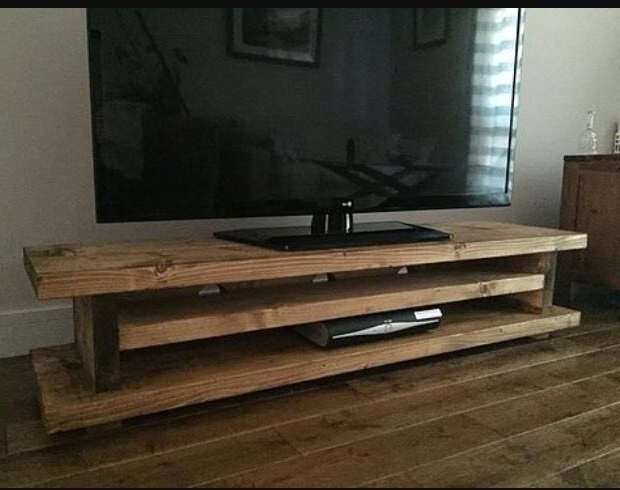 Handmade Tv Unit In Most Current Chunky Rustic Tv Audio Dvd Unit Mk1 Solid Wood – Oak Stain Uk Made (Gallery 1 of 15)