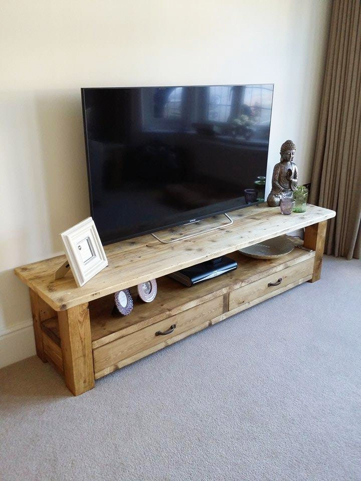 Handmade Tv Unit Within Most Up To Date Handcrafted Rustic Oak Living Room Furniture (View 8 of 15)
