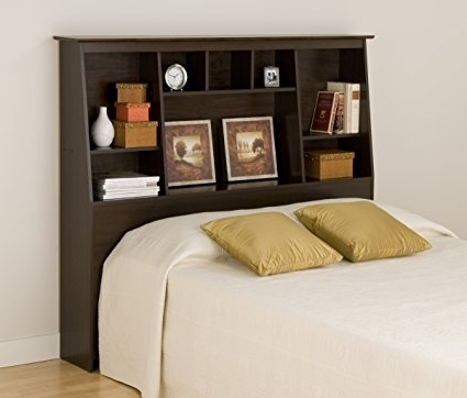 Headboard Full Bookcases Inside Popular Amazon – Espresso Full/queen Tall Slant Back Bookcase (View 7 of 15)