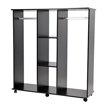 Homcom Double Mobile Open Wardrobe With Clothes Hanging Rails For Most Current Wardrobe Double Hanging Rail (View 4 of 15)