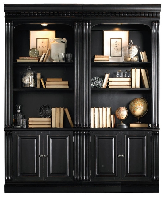 Hooker Telluride Bunching Bookcase With Door Black Transitional For Best And Newest Black Bookcases (View 6 of 15)